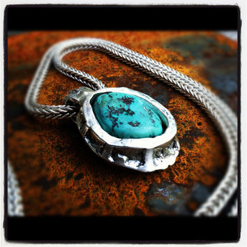Large Turquoise & Sterling Silver Pendant