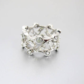 Sterling CZ Diamond Wide Band Ring. Lacy Flowers Vines Cubic Zirconia Cigar Band. Unique Wedding Anniversary Band Ring