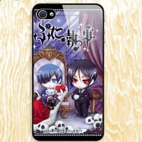 Japanese Anime Butler Design Skin Hard Back Decal PVC Case for Apple iPhone 4/4S - Black