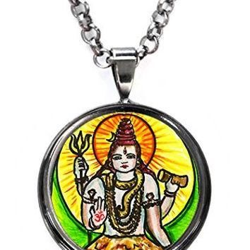God Shiva of Supreme Consciousness Gunmetal Pendant with Chain Necklace