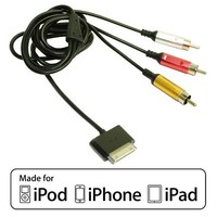 EZOPower Composite Audio / Video AV TV RCA Cable For Apple iPod Touch iTouch 4G 3G 2G 1G / 4th 3rd 2nd 1st Generation (Made for iPod iPhone iPad / Licensed by Apple)