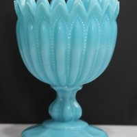 VINTAGE BLUE MILK GLASS COMPOTE PORTIEUX VALLERYSTHAL