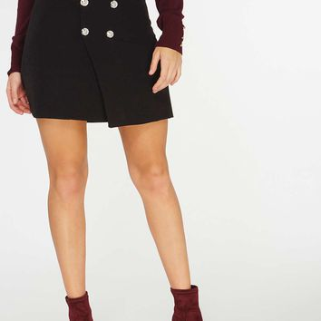 Black Wrap Button Mini Skirt | Dorothyperkins