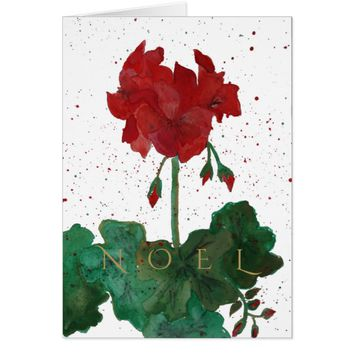 "Red & Green Geranium ""NOEL"" Christmas Card"