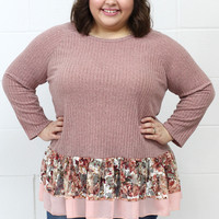 Curvy: Ruffled Floral Lace 3/4 Knit Blouse {Mauve}