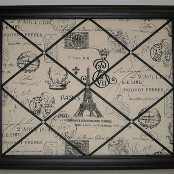 French Stamp (Black on cream) Framed Memo Board