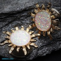 Golden Blazing Sun Opal Glitter Ear Gauge Plug