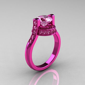 Modern Italian 14K Pink Gold 1.5 CT Light Pink Sapphire Wedding Ring, Engagement Ring AR119-14KPGLPS