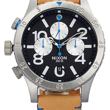 Men's Nixon 'The 48-20' Chronograph Leather Strap Watch, 48mm - Natural/ Black