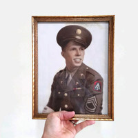Framed Portrait of WWII Soldier - US Army North - Fifth Army (8 x 10)