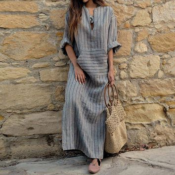 Versear Stripe Women Dress 4XL 5XL Large Size V Neck Autumn Summer Vintage Casual Loose Plus Size Maxi Long Cotton Linen Dresses