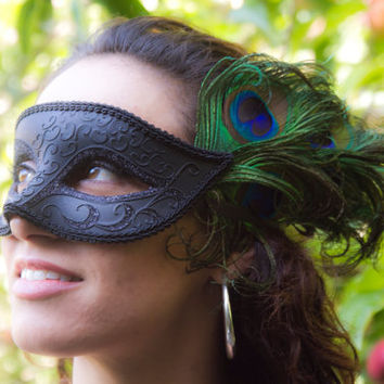 Masquerade Venetian style black mask with peacock feathers