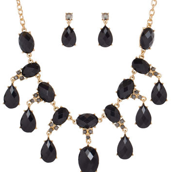 Lina Teardrop Necklace - Black