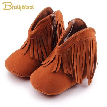 Fashion Baby Boots Girls Fringe Solid Color Toddler Baby Girl Shoes for Spring Autumn