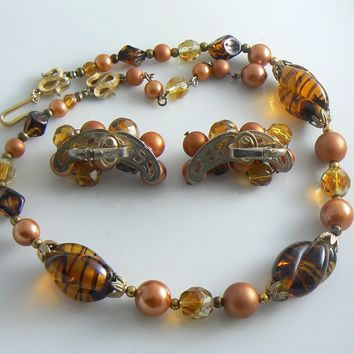 Trifari Swirled Art Glass Copper Faux Pearl Necklace Earring Set
