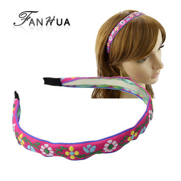 New Hair Jewelry Summer Style Hotpink Purp0le Ribbon Colorful Flower Pattern Hairband Hair Accessories Women Fashion Hairwear