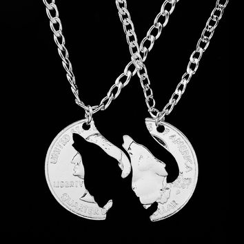 Deer Interlocking Couples Pendant Coin Puzzle Necklace