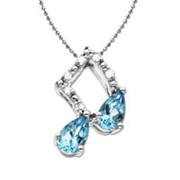 Sterling Silver Sky Blue Topaz and Diamond Musical Note Pendant Necklace, 18""