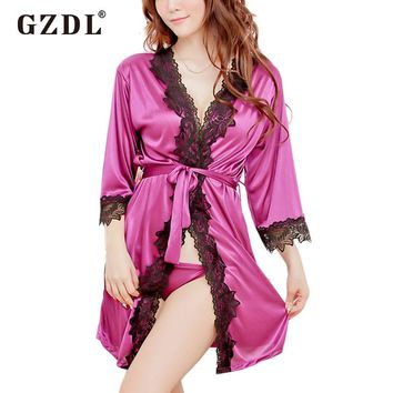 Lace Nightwear Trim Satin Robe Pyjamas Nightgown Lingerie with Thong Underwear
