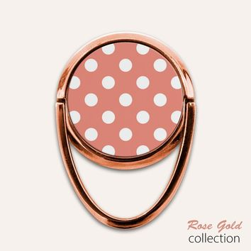 Rose Gold Polka Dots Phone Ring Finger Holder Mount Stand Grips