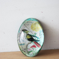 Vintage bird paperweight, glass paper weight with retro graphics and exotic bird decor, domed glass paperweight with colourful bird