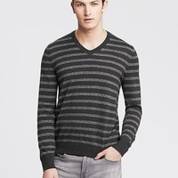 Banana Republic Mens Striped Vee Pullover