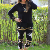Aztec Mocha Print Crop Leggings