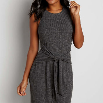 ribbed midi dress with tie front | maurices