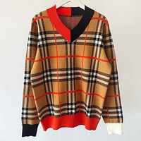 Burberry New fashion stripe women long sleeve top sweater