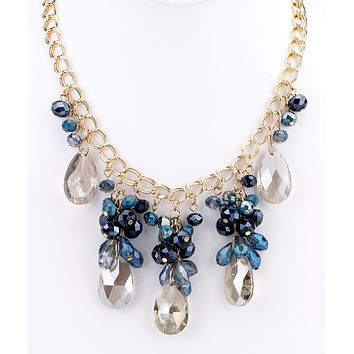 Teardrop Statement Necklace - Blue