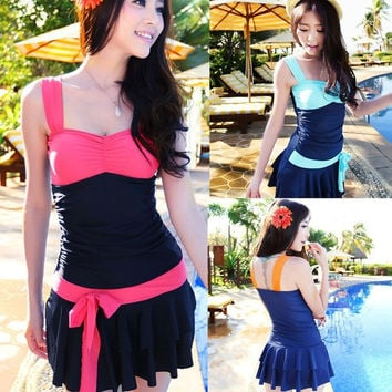 Sexy Women's Swimwear One-Piece Swimsuit Strap Backless Dress Patchwork Bathing Suit Female = 1958335748