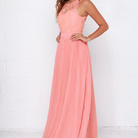 Say You Will Peach Lace Maxi Dress