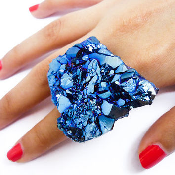Cobalt Blue Titanium Quartz Rainbow Crystal Druzy Ring by AstralEYE