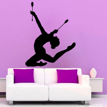 Sport Wall Decals Girl Gymnast With Clubs Fitness Gym Interior Design Vinyl Decal Sticker Home Art Mural Kids Nursery Baby Room Decor KG197
