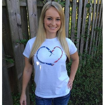 Hook Heart American Pride Ladies Short Sleeve Tee