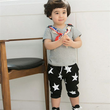 Toddler Boys 2-6 Year Cotton Harem Shorts Pants Kids Casual Stars Pattern Trousers NW