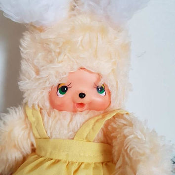 Vintage kitsch 1970s Monchichi clone Thumbsucker Rabbit Sunny toys manga Anime Japan monkey baby character pastel yellow cute baby doll