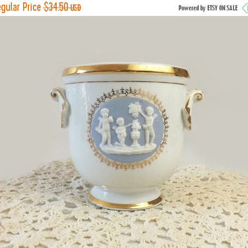 ON SALE - Porcelain Jasperware Jardiniere, Vintage White and Blue Handled Planter Vase, Cherubs Medallion, Gold Trim