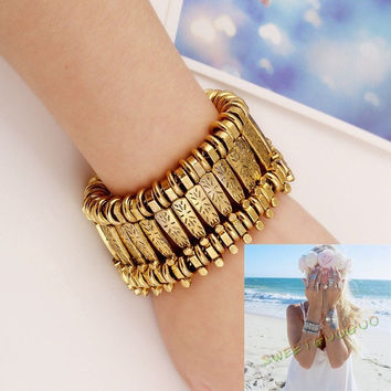 Women's Fashion Bohemian Sillver Ethnic Gypsy Chic Bracelet Wide Costume Jewelry = 1928688708