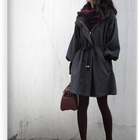 Buy Vogue Puff Sleeve Drawstring Waist Hood Worsted Coat Black with cheapest price|wholesale-dress.net