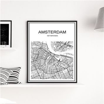 Hot sale white city map of Amsterdam Kraft Paper vintage retro Poster home Living Room Wall Art Crafts Sticker Bar Cafe Design