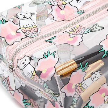 Mermaid Cat Graphic Makeup Bag