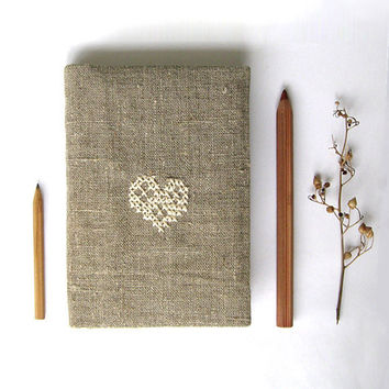 Rustic heart cozy notebook or journal cover fabric by GalaBorn