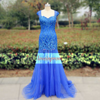 Handmade beading tulle bridesmaid dress,wedding dress,royal blue prom dress,long prom dress,cap sleeve formal evening dress