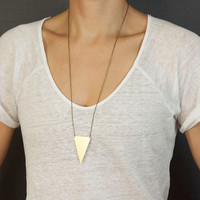 Big Brass Triangle Necklace  //  Long Geometric Necklace  //  Choose your length  //  WARRIOR Necklace
