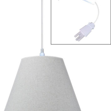 0-009306>Swag Pendant Plug-In One Light Sand Linen Shade