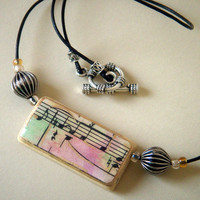 Necklace Bamboo Tile Pendant Vintage 1913 Sheet Music Watercolored