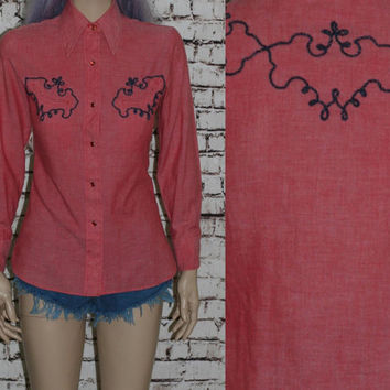 60s Western Shirt Rockabilly Pin Up Hipster XS S Womens Pink Red VLV Navy Blue White Top Blouse Wear Button Up 70s 50s Americana white