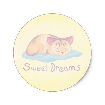 Dreaming Kitten Classic Round Sticker