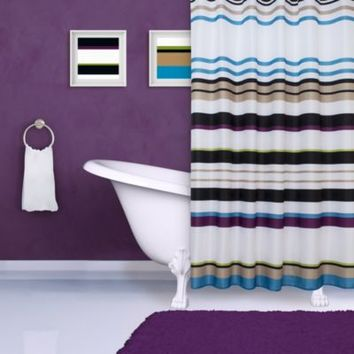 Colorful Stripes Print Shower Curtain